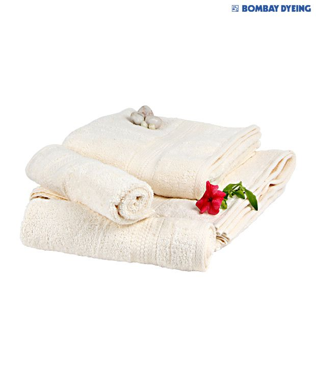Bombay Dyeing Set of 4 Cotton Towels - Cream