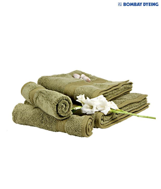 Bombay Dyeing Set of 4 Cotton Towels - Green