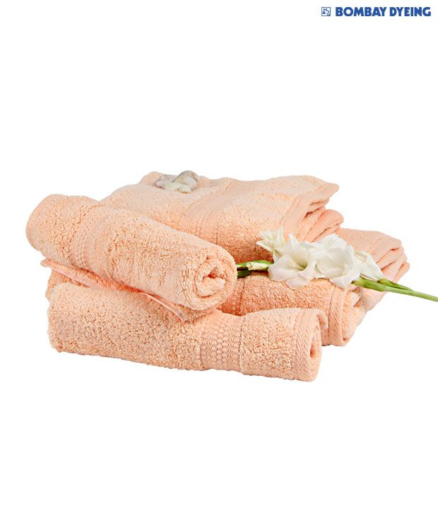Bombay Dyeing Set of 4 Cotton Towels - Peach