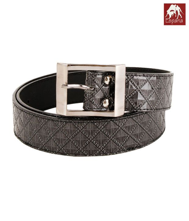 Espana Metallic Grey Skinny Belt