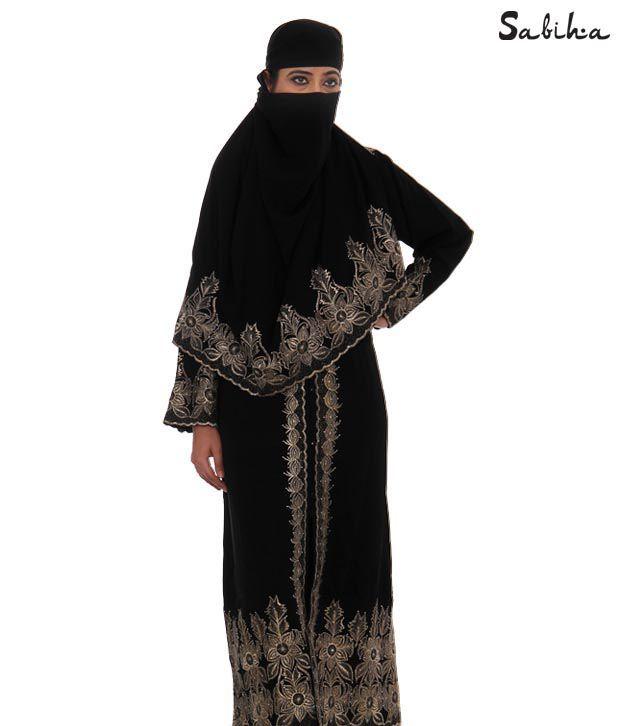 Sabiha Elegant Black Burqa (IQSJSAB0001)