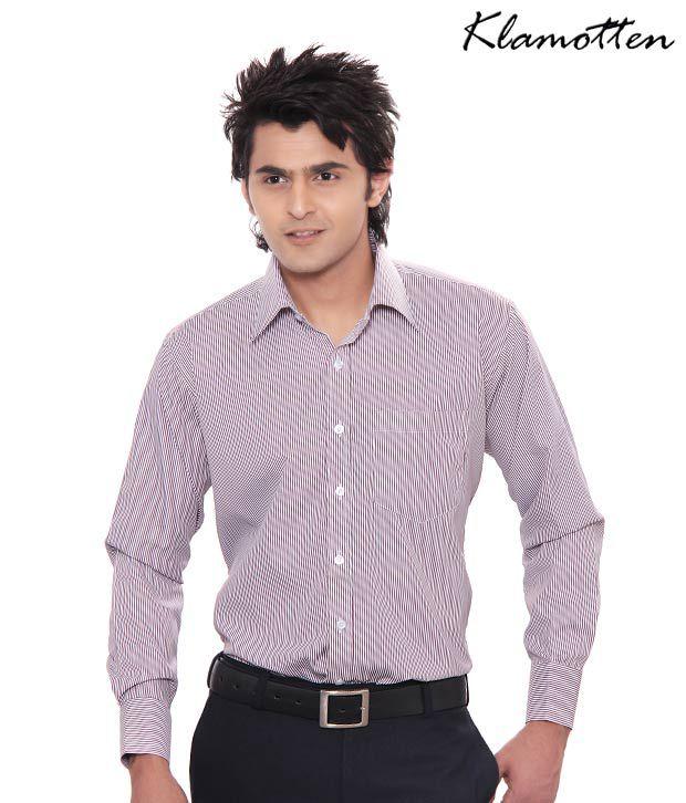 Jonnie Fresh Maroon & White Striped Shirt-Kf04