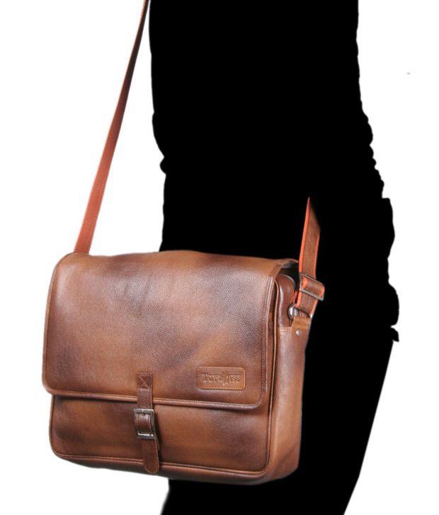 Tortoise Light Brown Laptop Messenger Bag - Buy Tortoise Light ...