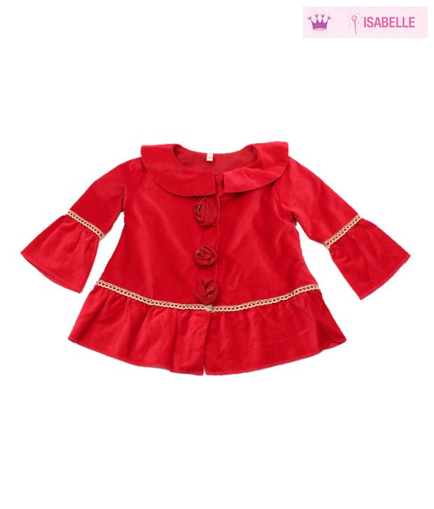 Isabelle Cute Red Rose Tunic Jacket For Kids
