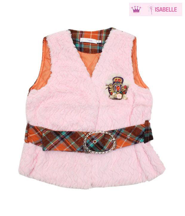 Isabelle Light Pink & Peach Designer Jacket For Kids