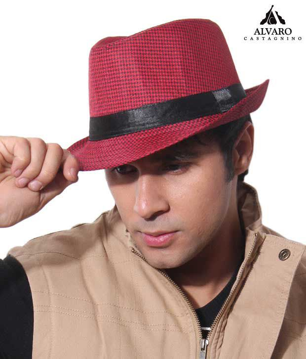 Alvaro Urbane Red & Black Checkered Print Hat