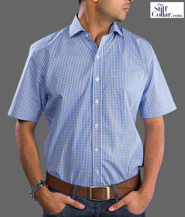 The Stiff Collar Royal Blue Gingham Shirt