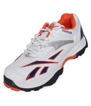 Reebok White \u0026 Silver Cricket Shoes