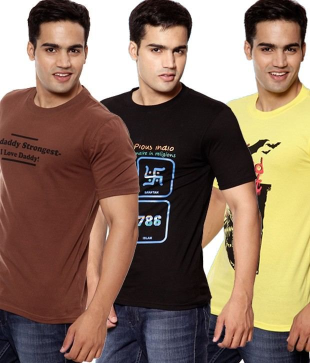 Fundoo-T Brown-Black-Yellow Pack of 3 Cotton T-Shirts