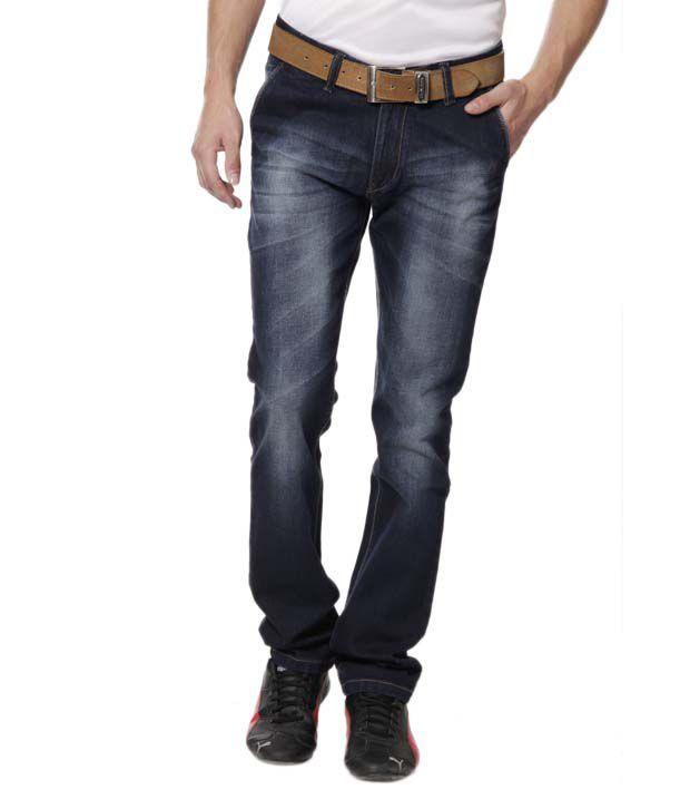 DFU Raw Indigo Blue Faded Stretchable Jeans
