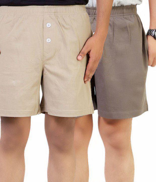 Benston Beige-Green Pack of 2 Shorts