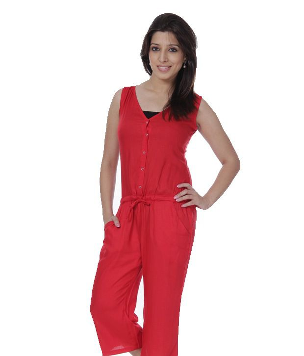 5ca7184575d Cottinfab Red Cotton Jumpsuit - Buy Cottinfab Red Cotton Jumpsuit Online at Best  Prices in India on Snapdeal