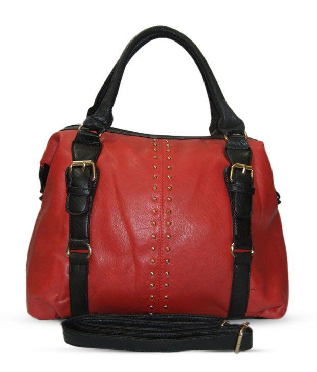 Nell Coral Red & Black Studded Handbag