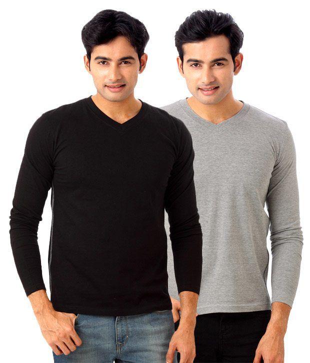 Street Junkies Pack Of 2 Black & Grey Melange T Shirts