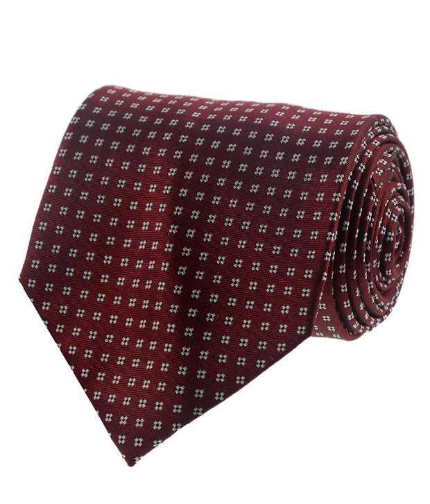 Van Heusen Maroon Geometrical Patterned Necktie