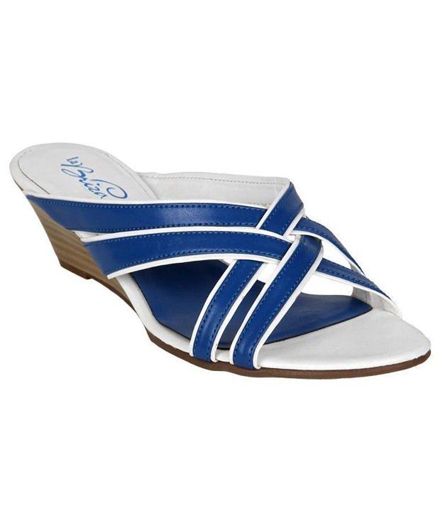 La Briza Blue & White Slip-on Heels