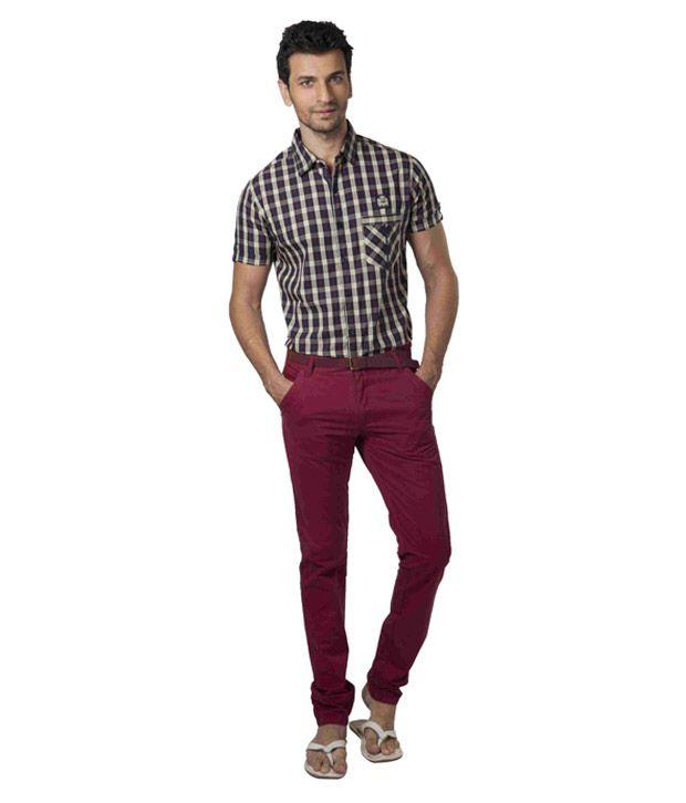 Teemper Maroon Trouser With Free Belt