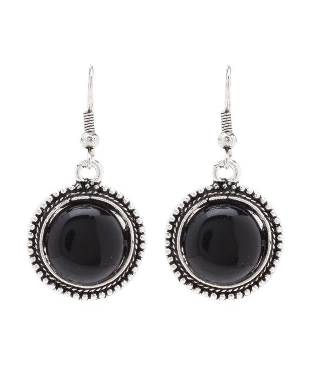 FnMe Black Coloured Pretty Hanging Ethnic Earrings