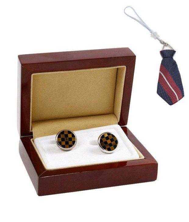 John Ledlie Brown & Black Checkered Cufflinks With Free Mobile Dangler