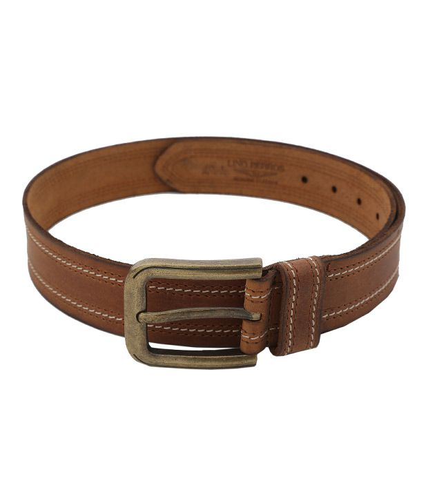 Lino Perros Brown Contrast Stitched Belt