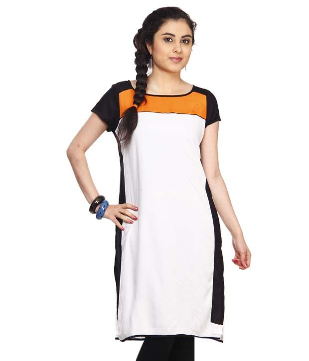 W White-Orange Printed Cotton Long Kurti