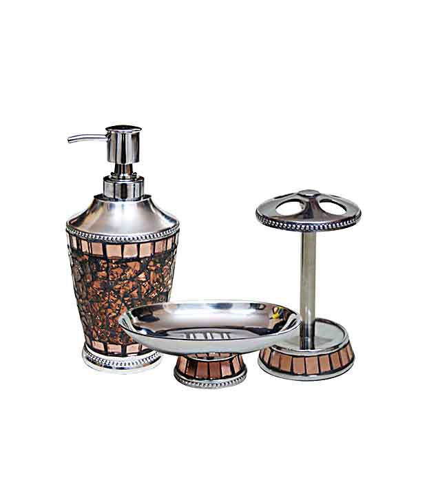 Buy plumeria iceberg copper bathroom accessory set online for Bathroom accessories india online