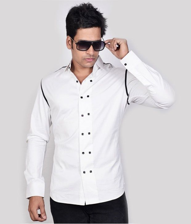 Dazzio White Stylish Shirt - Buy Dazzio White Stylish Shirt Online ...