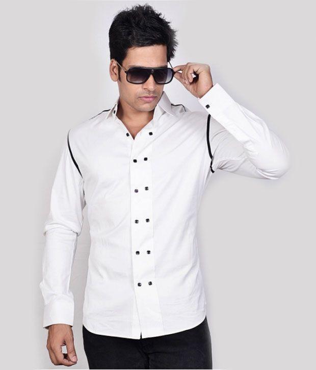 Dazzio White Stylish Shirt - Buy Dazzio White Stylish Shirt Online ...