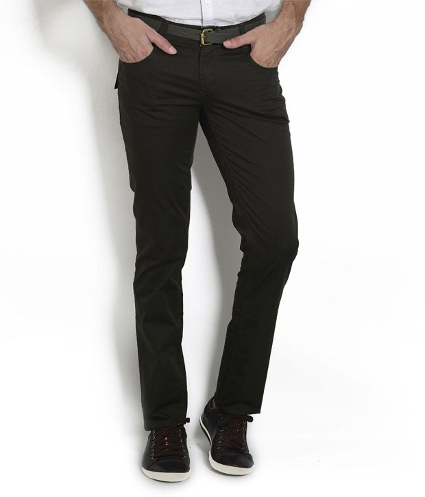 Teemper Olive Trousers With Thread Embroidery At Back Pocket