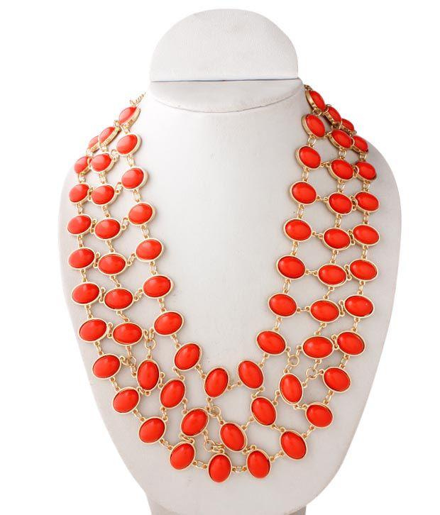 Pari Three String Red Dazzle Necklace