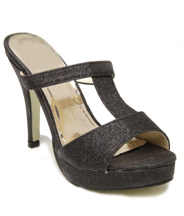 F n B-Nell Captivating Black Slip-on  Heels