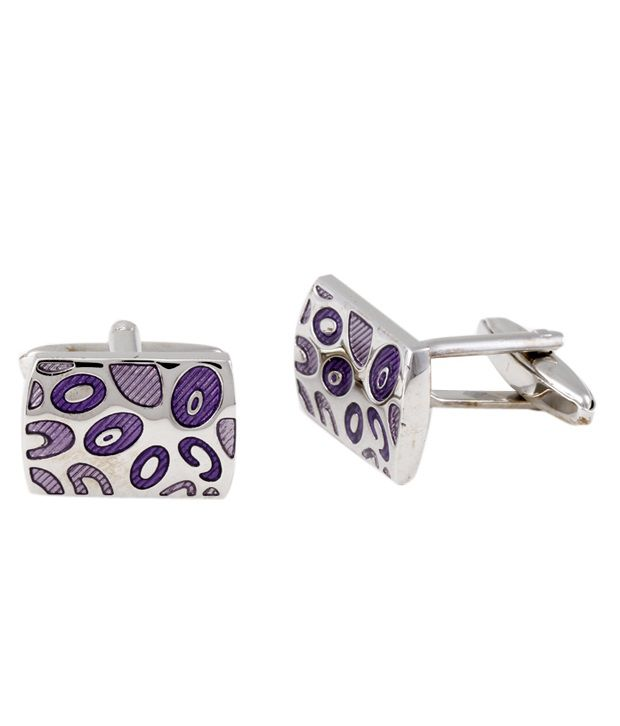 Alvaro Purple & Silver Contemporary Design Cufflinks