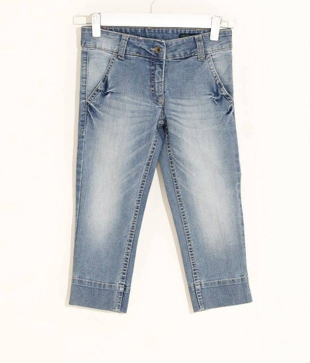 Washed Denim Capris For Kids