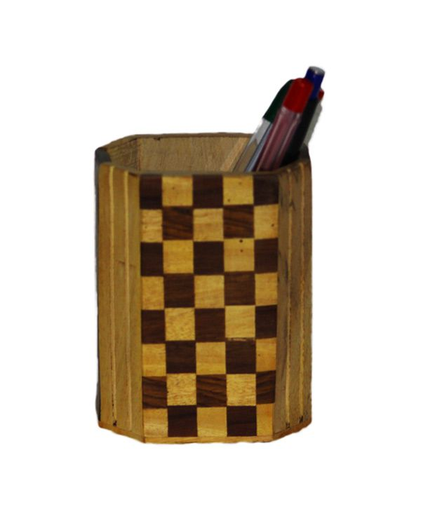 PINDIA Sheesham Pen Stand With Check Design