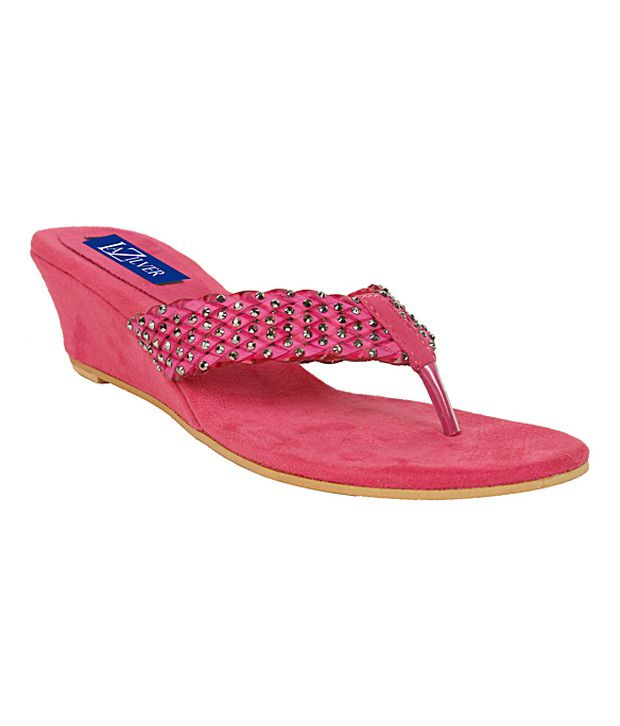 La Zilver Voguish Pink Slip-on Heels