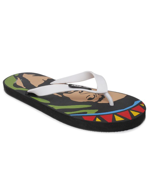 Step Up Bob Marley White Flip Flops