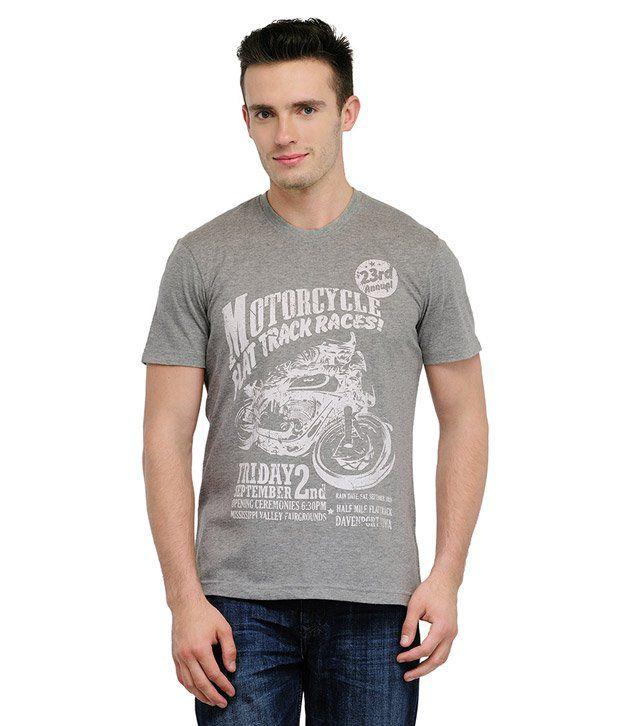 Yepme Flat Track Grey Melange T Shirt
