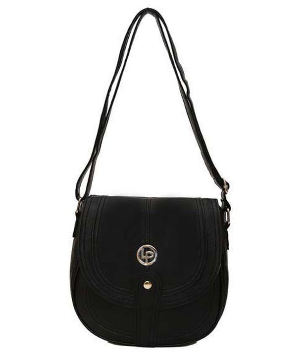 Lino Perros Fashionable Black Cross Body Sling Bag