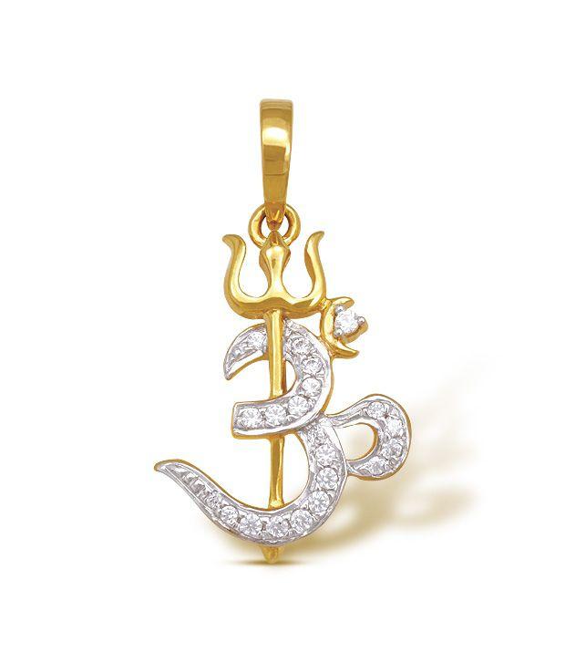 ishtaa 18kt gold cubic zircon om trishul pendant buy