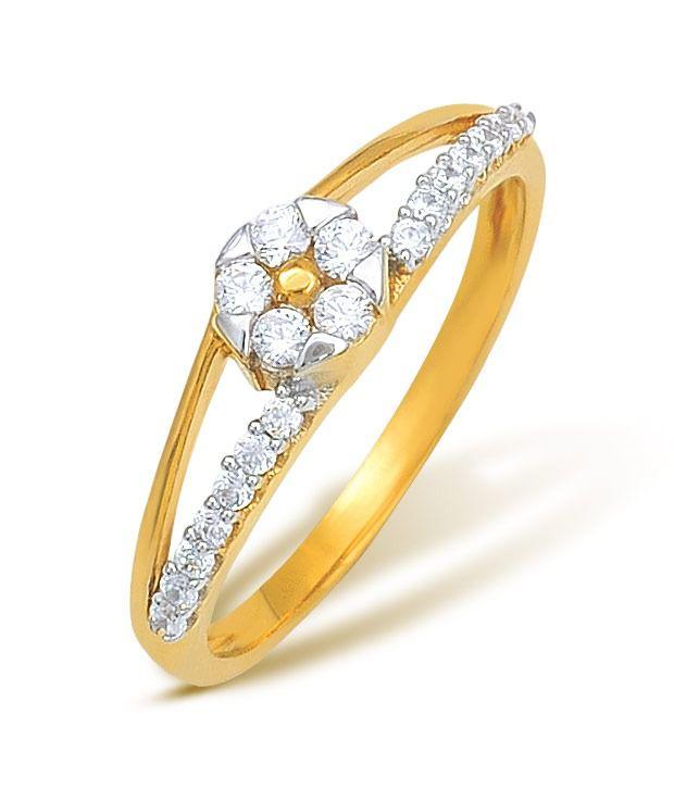 Ishtaa 18kt Gold Cubic Zircon Contemporary Ring
