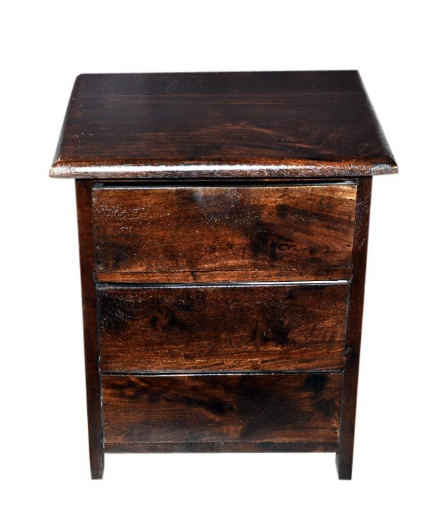 Induscraft Bedside Table With 3 Drawers