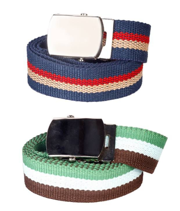 Flying Colors Vibrant Striped Canvas Belts Combo