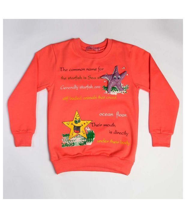 Little Aiva Full Sleeves Orange Sweatshirt For Kids
