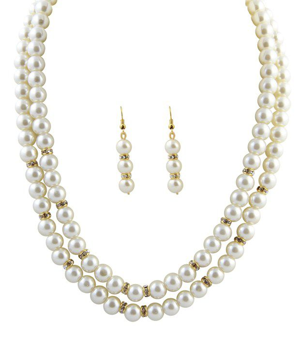 Raaga White  Pearl 2 Stringed Necklace & Set