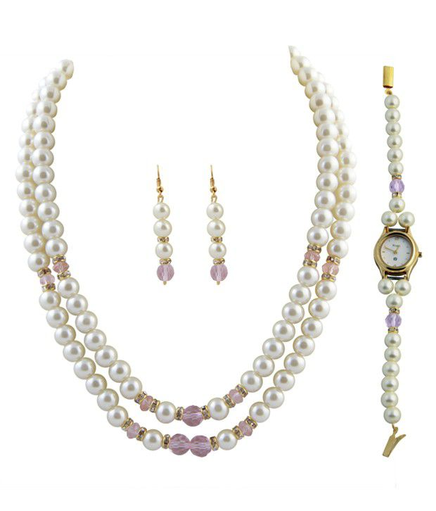 Raaga Pearl 2 Stringed White & Pink Necklace & Set with Watch Combo