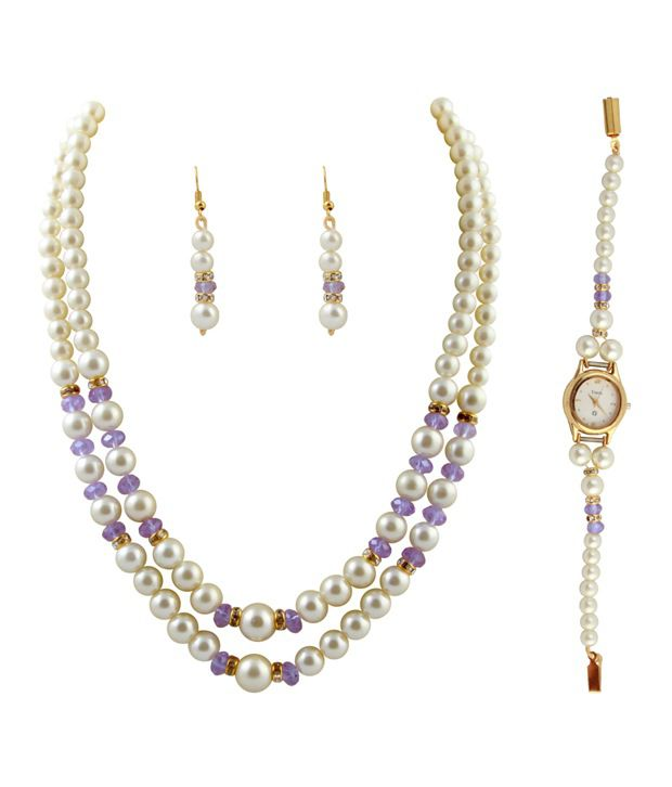 Raaga Pearl 2 Stringed White & Purple Necklace & Set with Watch Combo