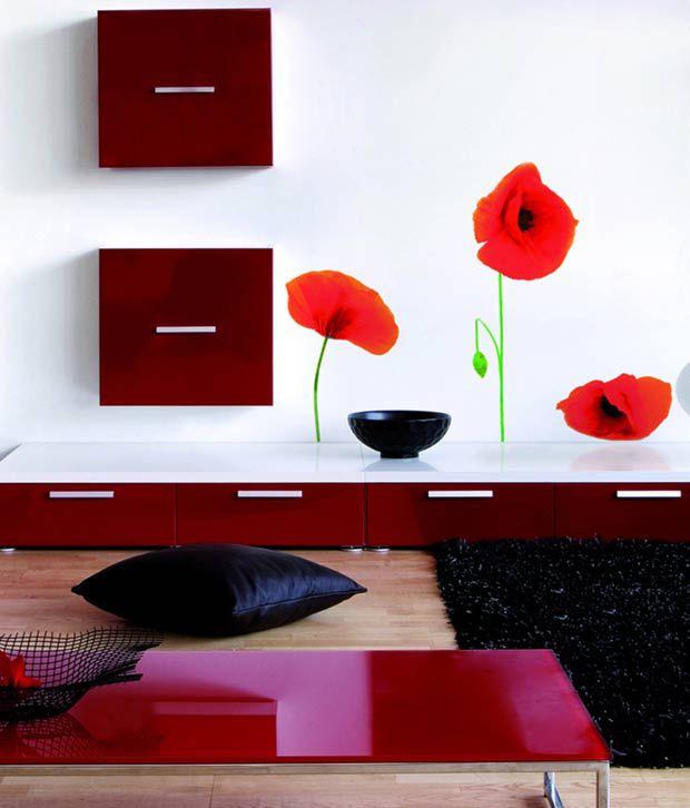 home decor line pretty wall sticker decal poppies buy fun4walls pretty hearts wall decals walmart com