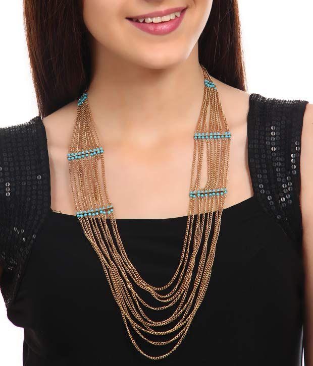 Rhea Golden Strings Trendy Necklace