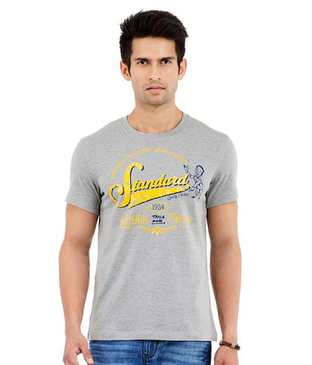 Yepme Standard Grey Melange T-Shirt