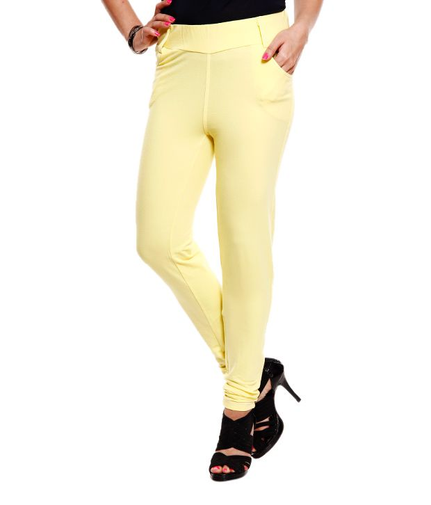 Softwear Yellow Cotton Jeggings ... - Buy Softwear Yellow Cotton Jeggings Online At Best Prices In India